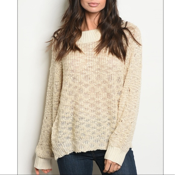 Trendy boutique Sweaters - Oatmeal Long sleeve knit pull over sweater